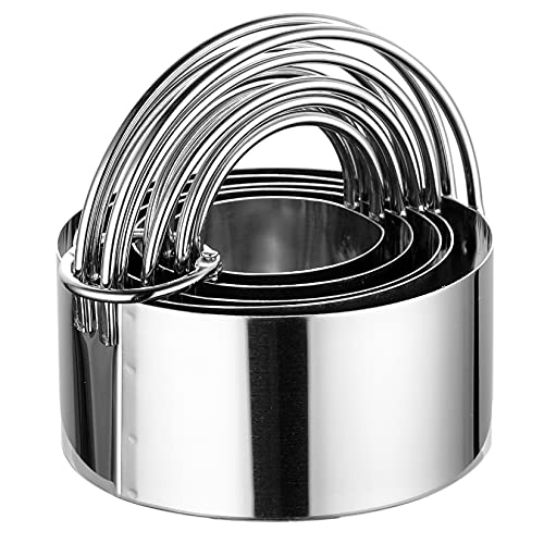 Biscuit Cutter with Handle - 5 Pieces Round Cookie Cutter Stainless Steel