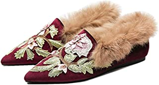 Ayercony Slip On Loafers, Embroidery Mules Fluffy Slipper Velvet Backless Pointed Toe Mule Slides