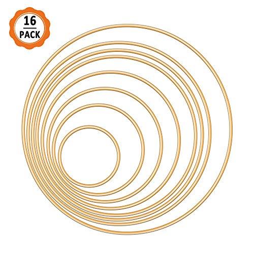 Dadabig 16 stuks metalen ringen hoepels, Dream Catcher metalen ringen gouden Macrame ringen metalen hoepels voor DIY Crafting, 8 maten