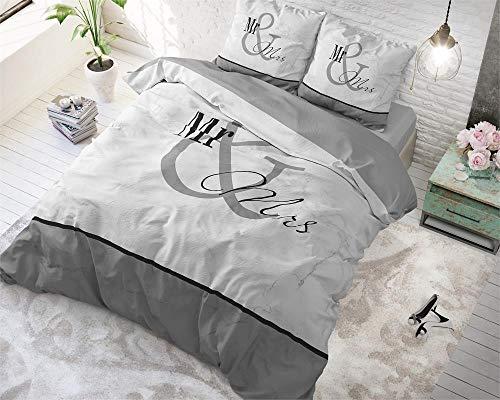 *SLEEP TIME Bettwäsche Baumwolle Mr. and Mrs Marmor, 200cm x 220cm, Mit 2 Kissenbezüge 60cm x 70cm, Grau*