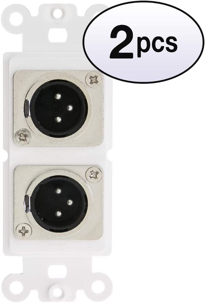 Brand new GOWOS 2 Now free shipping Pack Decora Wall Plate Insert to White Male Dual XLR
