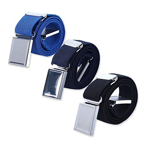 AWAYTR Elastischer Magnetgürtel für Kinder, verstellbare Schnalle, Stretch-Gürtel für Jungen und Mädchen Gr. Einheitsgröße, Königsblau / Marineblau / Schwarz
