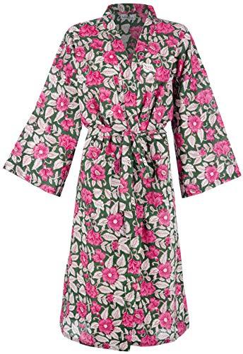 Batas de algodón orgánico para Mujeres y Hombres. Albornoces de Kimono Fresco. Impresos a Mano, cultivados orgánicamente, Hechos éticamente. Talla única 38-46 (Green Pink Floral)