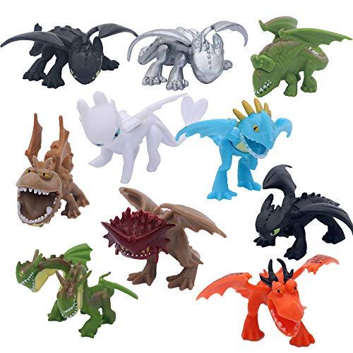 MINGZE 10 stücke Drachen Spielzeug, PVC Sortiert Wie Drachenzähmen 5 bis 6 cm Action-Figuren Night Fury Toothless Dragons Birthday Party Favor, Drachenzähmen leicht gemacht 3