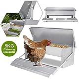 UISEBRT Mangiatoia automatica per polli 5 kg – Mangiatoia per pollo in acciaio zincato per pollame, impermeabile e resistente ai rattan.
