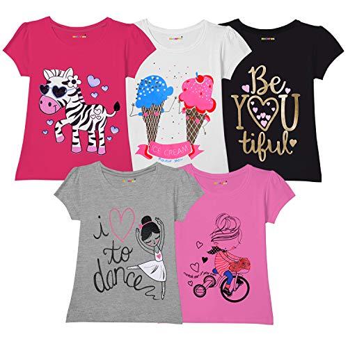 Kuchipoo Girl's T-Shirt (Pack of 5) (KUC-TSHRT-103--3-4 Years_Multicolored_3-4 Years)