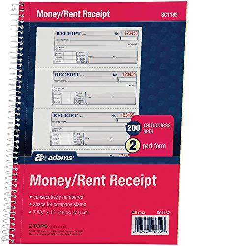 Adams Money and Rent Receipt Book, 2-Part Carbonless, 7-5/8