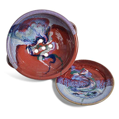 Larrabee Ceramics - Juego de cuencos (2 unidades), color morado y rojo