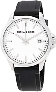 46789875f Michael Kors Men's Penn Stainless Steel Quartz Watch with Silicone Strap,  Black, 22 (