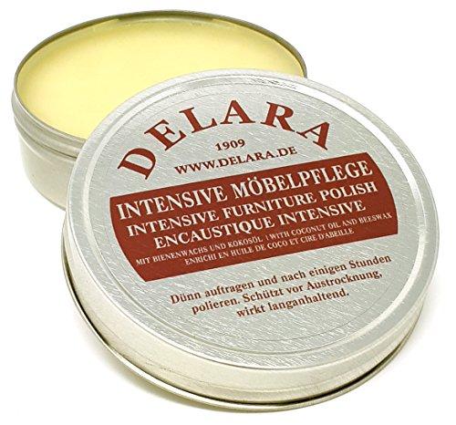 DELARA Intensive Möbelpflege, sehr hochwertiges Möbelwachs mit Bienenwachs und Kokosöl, 75 ml, farblos - Made in Germany