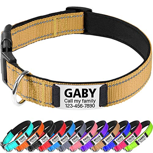 TagME Personalizado Nylon Collares para Perros, Ajustable Reflectante Collar Perro con Acolchados, Etiqueta de Acero Inoxidable Nombre Grabado y Número de Teléfono, Caqui