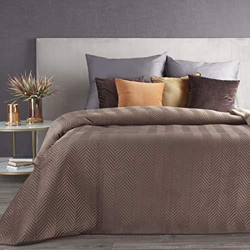 Eurofirany Tagesdecke Sesseldecke Sofadecke Velvet Samt Steppdecke für Wohnzimmer & Schlafzimmer (Sofia Braun, 170 x 210 cm)