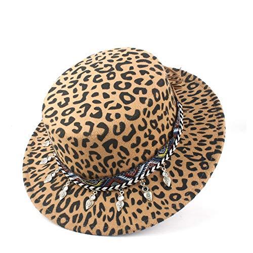 Mode Gondoliere Hut-Winter-Terry-Hut Wolle Polyester Flat Top Women's hat Formale Partei-Farbe gesponnenen Gurt Flat Top Women's hat Männer Frauen weich (Color : Khaki, Size : 56-58)