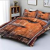 Juego de funda nórdica, fotografía de madera de pino anudada antigua con ventana de control, diseño de naturaleza, juego de cama decorativo de 3 piezas con 2 fundas de almohada, marrón caramelo, el me