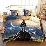 YOMOCO The Legend of Zelda Juego de ropa de cama – Funda nórdica y dos fundas de almohada, microfibra, impresión digital 3D de tres piezas (16,140 x 210 cm)