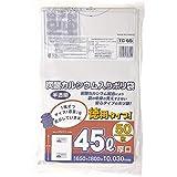 ジャパックス ゴミ袋 容量表示あり 半透明 45L 横65×縦80cm 厚み0.03mm 厚くて丈夫な 炭酸カルシウム入り ポリ袋 50枚入