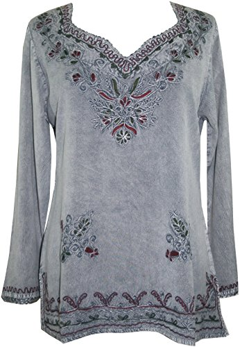 720 B Medieval Renaissance Embroidered Top Blouse (2X, Silver Gray C)