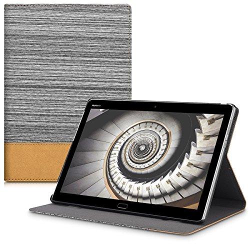 kwmobile Hülle kompatibel mit Huawei MediaPad M3 Lite 10 - Slim Tablet Cover Hülle Schutzhülle mit Ständer Hellgrau Braun