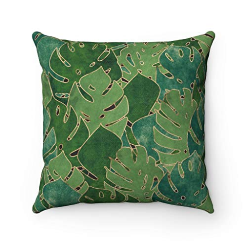 Diuangfoong Funda de almohada de 35,56 x 35,56 cm, verde esmeralda, hojas de Monstera, selva tropical, acento de sofá, funda de almohada decorativa abstracta de 40,6 x 1 cm
