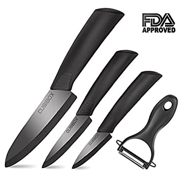 Ceramic Knife Set 4-Pieces Mirror Gloss Knife Ceramic Set with Sheaths Super Sharp Ceramic Knives Stain Resistant and Paring knife Set Blade Knives 6  Chef Knife 4  Utility 3  Paring and 1  Peeler