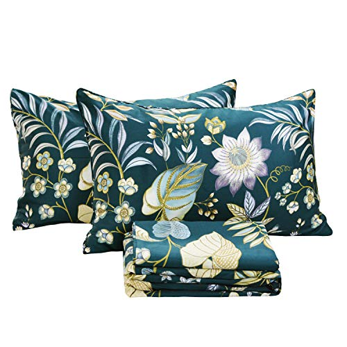 FADFAY Sheets Set King Teal Elegant Floral Bedding Tropical Plam Leave Sunflower Bedding 800 Thread Count Luxury Summer Bedding 100% Egyptian Cotton Deep Pocket Bed Sheets Set, 4 Pieces-King Size