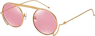 EFE Round Retro Vintage Circle Sunglasses for Women Colored Metal Frame Glasses