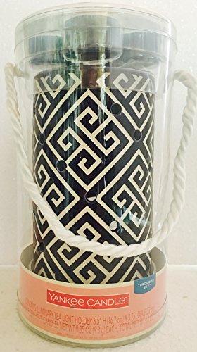 Yankee Candle Greek Key Luminary Tea Light Holder with 4 Turquoise Sky Tea Lights