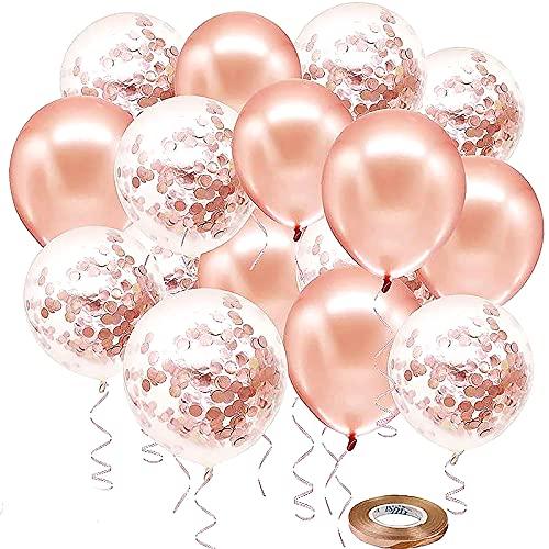 SHULLIN 60 globos de 30 cm de color oro rosado con cinta de confeti de 20 m para bodas, día de San Valentín, niñas, cumpleaños, decoración de Nochevieja