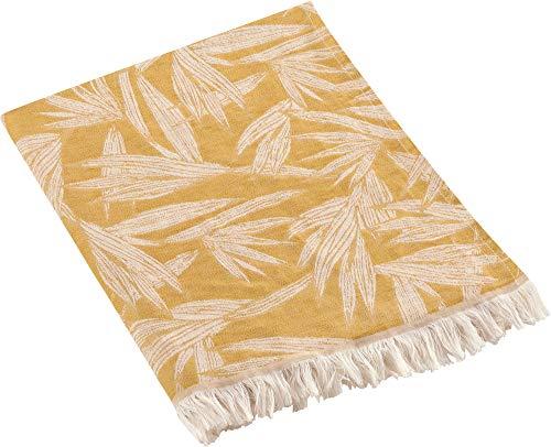 biederlack Plaid Baumwollmischung Jacquard gelb Größe 130x180 cm