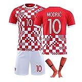 FDSEW Camiseta de fútbol Croacia Equipo Nacional Rakitić Nº 7 Modric Nº 10 Mandzukic Nº 17 Traje de Temporada Copa de Europa Uniformes de fútbol personalizados-red10-24
