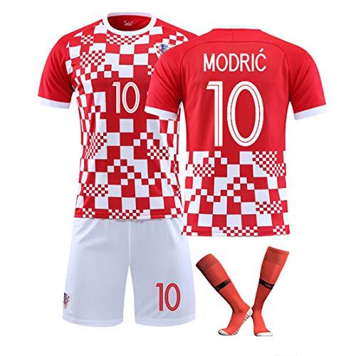 ADMJL Kinder Fußball Trikot Kroatien Nationalmannschaft Saisonanzug Europapokal Herren Fußballuniformen, bequem, atmungsaktiv und cool-red10-22