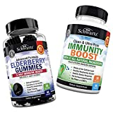 Natural Sambucus Elderberry Gummies + Immunity Boost Supplement Bundle with Vitamin C, Zinc, Vitamin A & Echinacea - Immune Support