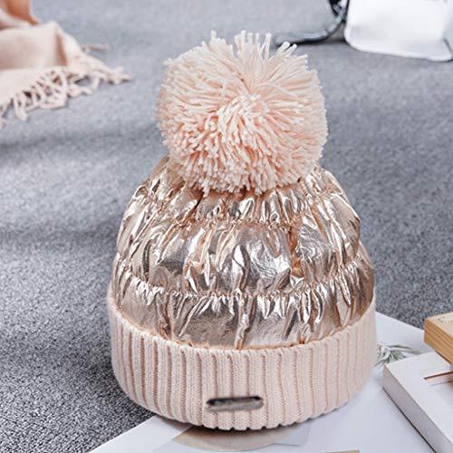 SHYPT Weiblicher Wintermode Süße und Nette Pulloverhut, Student-Hut Warmer doppelter wasserdichter Strickmütze (Color : D)