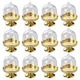 Toyvian Mini Cake Stand Cupcake Display Plate Candy Holders with Dome Cover for Chocolate, Cheese, Coconut Macaroons, Rum Balls (Golden Base) - 12PCS