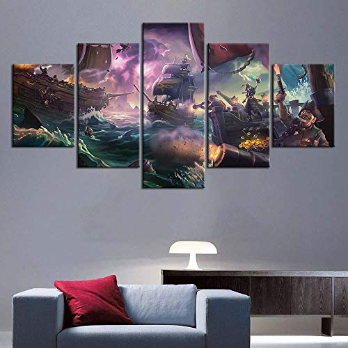 wsqyf 5 Pieces Sea of Thieves Game Posters Canvas Painting Oil Painting Wall Stickers Room Decor HD Print Wallpaper 30x40 30x60 30x80cm (no Frame)