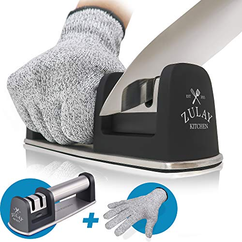 Zulay Kitchen Knife Sharpener amp CutResistant Glove | 2Stage Knife Sharpening Tool Restores Polishes and Helps Repair Blades Dull Steel Paring Chefs and Pocket Knives | Stainless Steel amp Tungsten