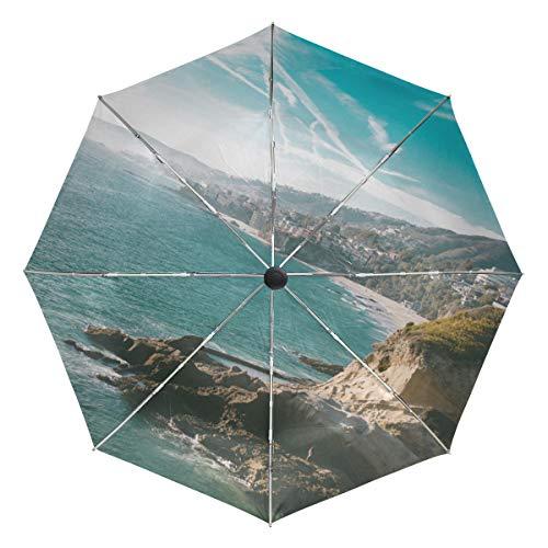 Lenenl Secret Pools Eddie Rios Global Yodel Paraguas de Viaje Resistente al Viento con Cierre automático Ligero y Compacto con protección UV