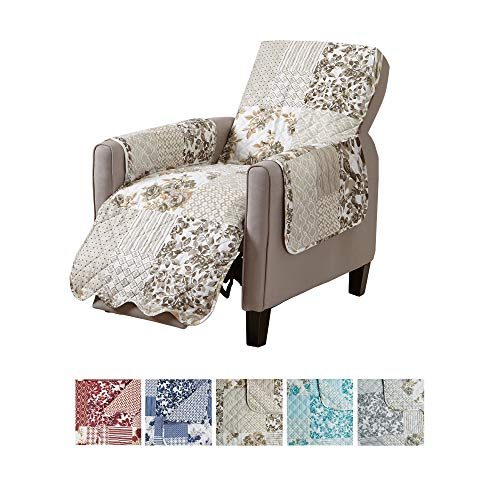 Great Bay Home Patchwork Scalloped Printed Furniture Protector. Stain Resistant Recliner Cover. (Recliner, Taupe)