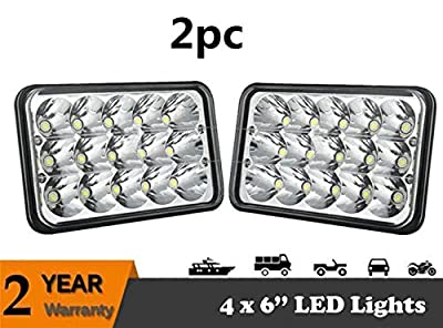 Jiuguang Pair 45W 57 Inch Rectangular LED Headlight Sealed Beam LED Headlight for H6052 H6053 H6054 H6014 Jeep Wrangler JK YJ CJ TJ MJ XJ Freightliner Peterbilt Mack Tacoma Headlight