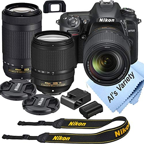 Nikon D7500 DSLR Camera Kit with 18 140mm VR 70 300mm Zoom Lenses Built in Wi Fi 20 9 MP CMOS product image