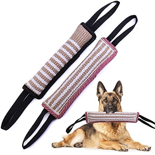 EPODA 2 Stück Beisswurst für Hunde, Jute Beisswurst mit 2 Griff, zum K9 Training, Tauziehen und Zerrspiele mit Hund, Hundebiss Schlepper Spielzeug Robustes Hundespielzeug