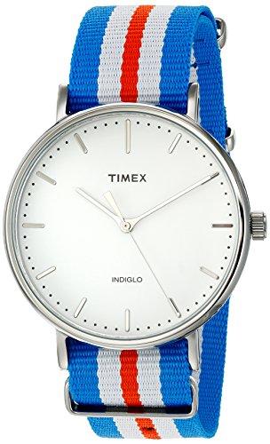 Timex Unisex TW2P91100 Fairfield 41 Orange/Blue/White Nylon Slip-Thru Strap Watch