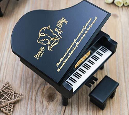 WooMax Caja musical de madera de piano negro con diseño de la Bella y la Bestia, el mejor regalo para cumpleaños y Navidad