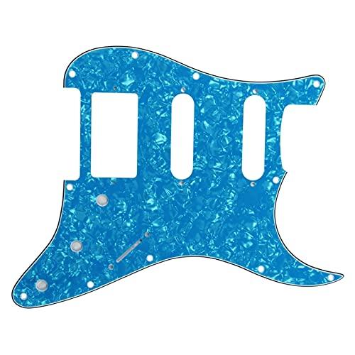 Accesorios de Guitarra Placa de Guitarra SSH Placa Trasera Resistente a los rasguños + Tornillos adecuados para Guitarras de Estilo de estratagra estándar, Perla Azul Cielo