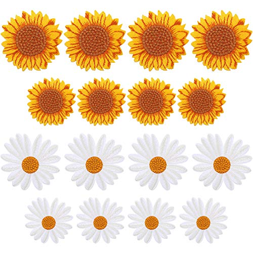 16 Pieces Daisy Flower Patches, Include 8 Pieces Daisy Iron On Appliques 8 Pieces Sunflower Embroidery Patches Sew On Applique Patch Clothing Decorative Patch for T-Shirt Backpack Hoodies Shoes Bag