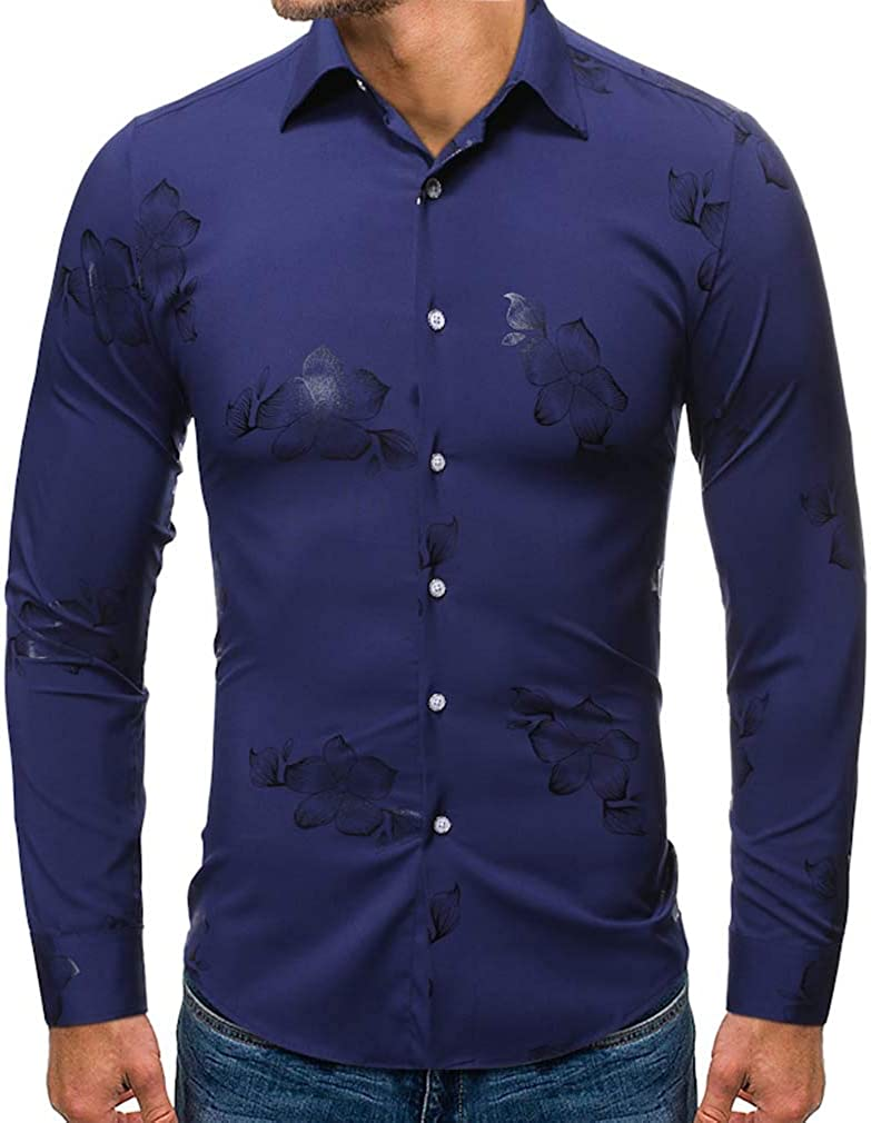 YD-zx Men's Spring Business Lapel Dress Shirt Slim Fit Casual Flower Printed Shirt Long Sleeve Button Down Shirts