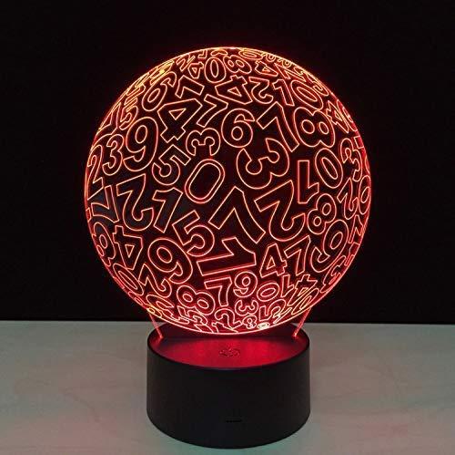 USB 3D Touch nachtlampje nummer kogelpatroon hoge doorlaatbare acrylschijf grappige tafellamp wisselbare kleuren decoratieve lamp