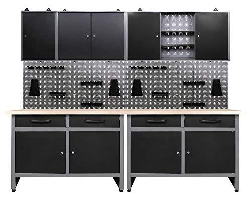 Ondis24 Werkstatteinrichtung 7-teilig Werkbank Werkzeugschrank Werkzeugwand/Lochwand mit Haken