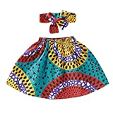 Moneycom Enfant Bébé Fille en Bas âge Jupe Africaine Bandeau Dashiki Imprimer Vêtements Set Jupe de Impression de Style Ethnique, Costume de Bande de Cheveux Bleu(6-12 Mois)