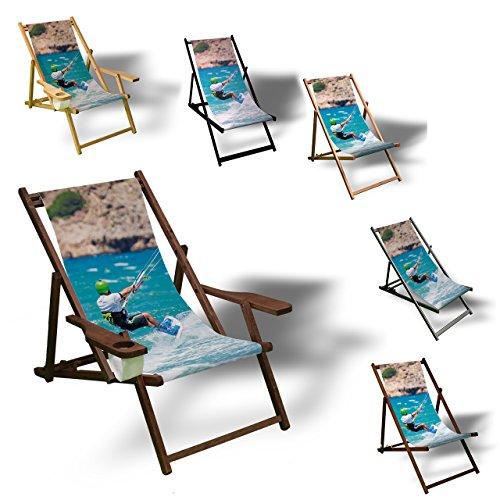 Printalio - Kiteboard - Liegestuhl Bedruckt Balkon Garten Sonnenliege Relax Holz Terrasse | mit Armlehne, Dunkelbraun